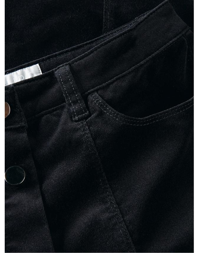 Washed Velvet Button Skirt