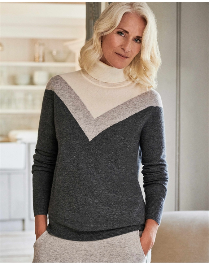 Cashmere Boyfriend Polo Neck Sweater