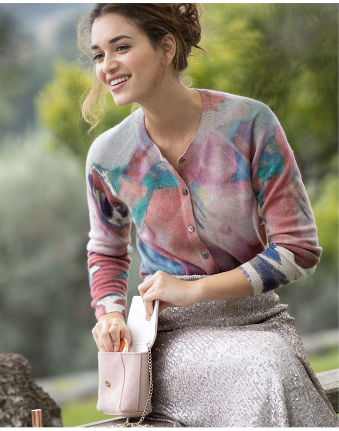 Cashmere Printed Cardigan