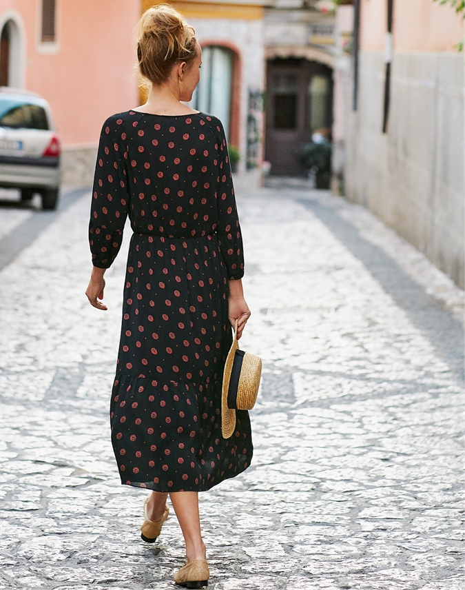 Tie Neck Midi Dress