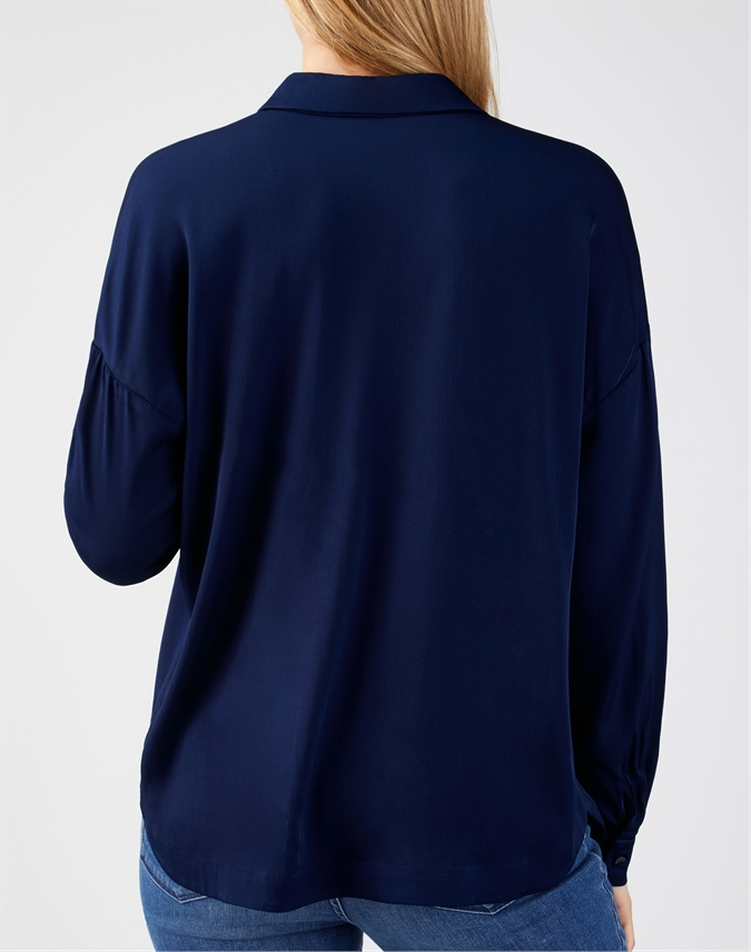 Relaxed Curved Hem Blouse