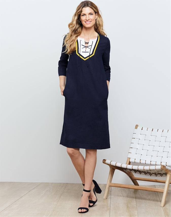 Laundered Linen Tie Neck Dress