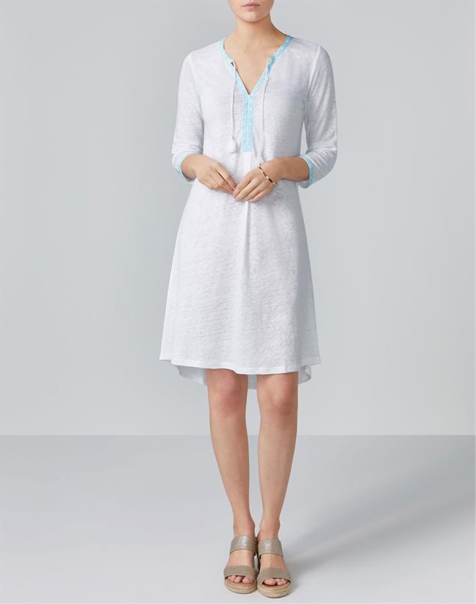 Linen Jersey Tassel Neck Dress