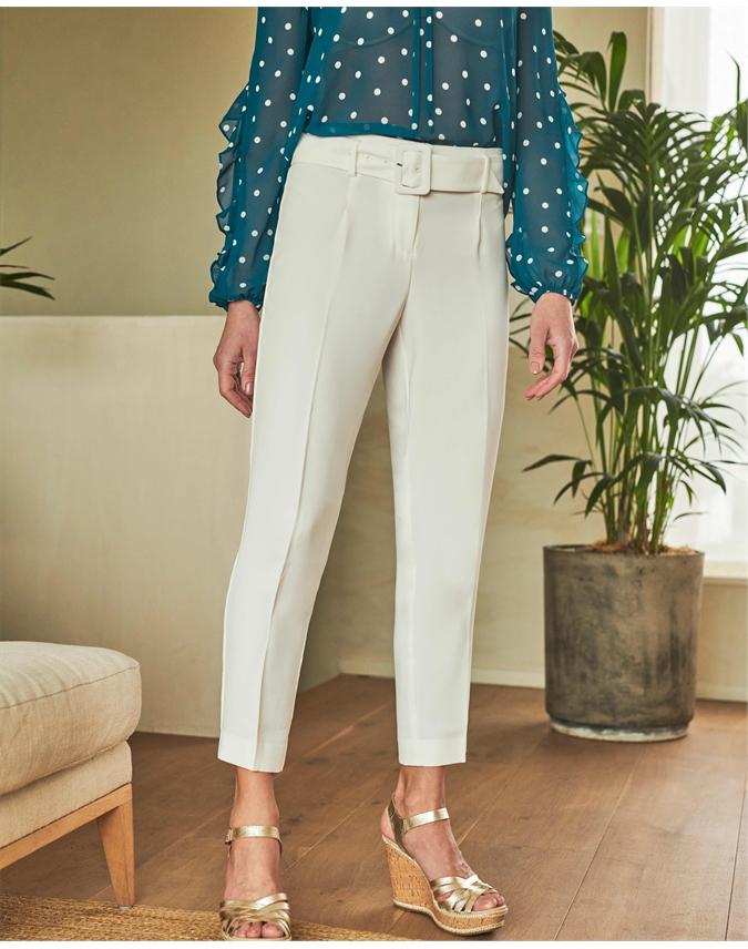 Crepe Slim Leg Belted Trouser