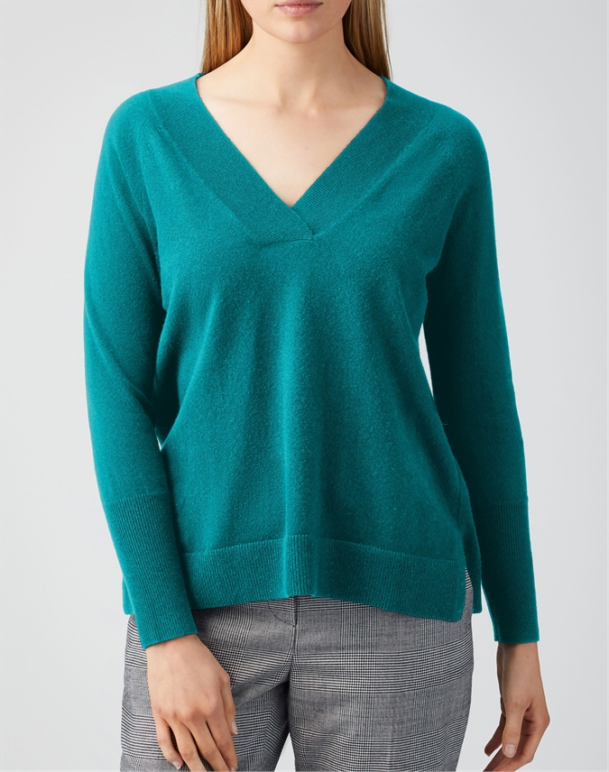 Cashmere Wide V Neck Sweater