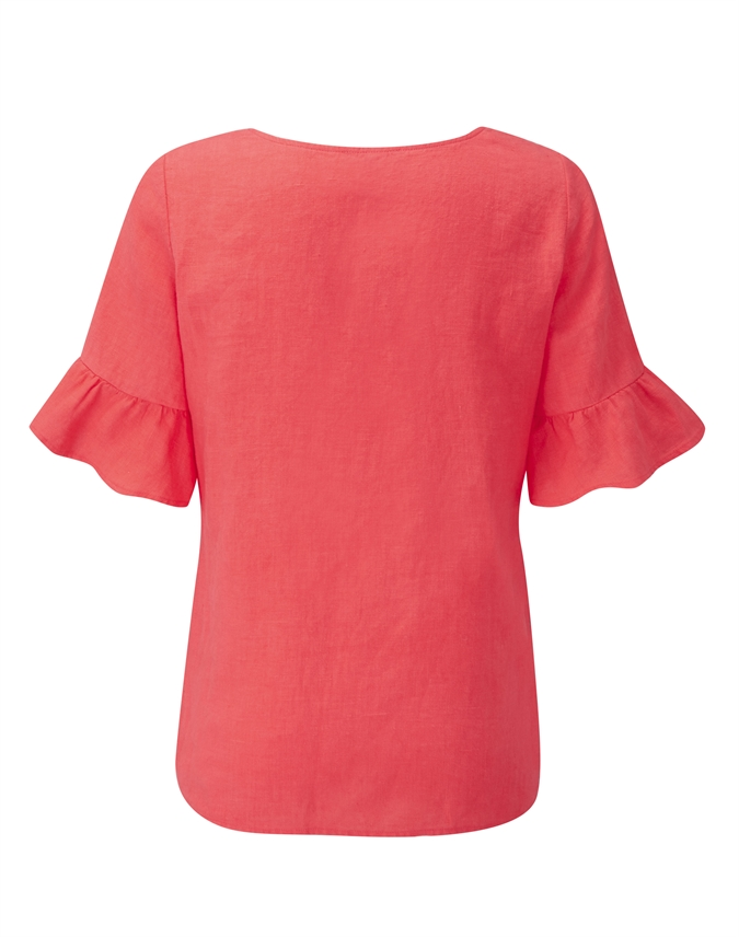 Laundered Linen Ruffle Sleeve Top