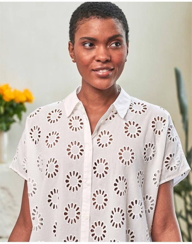 Cotton Embroidered Boxy Shirt
