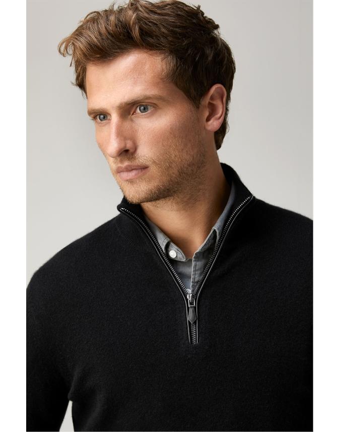 Mens Cashmere Zip Neck Sweater