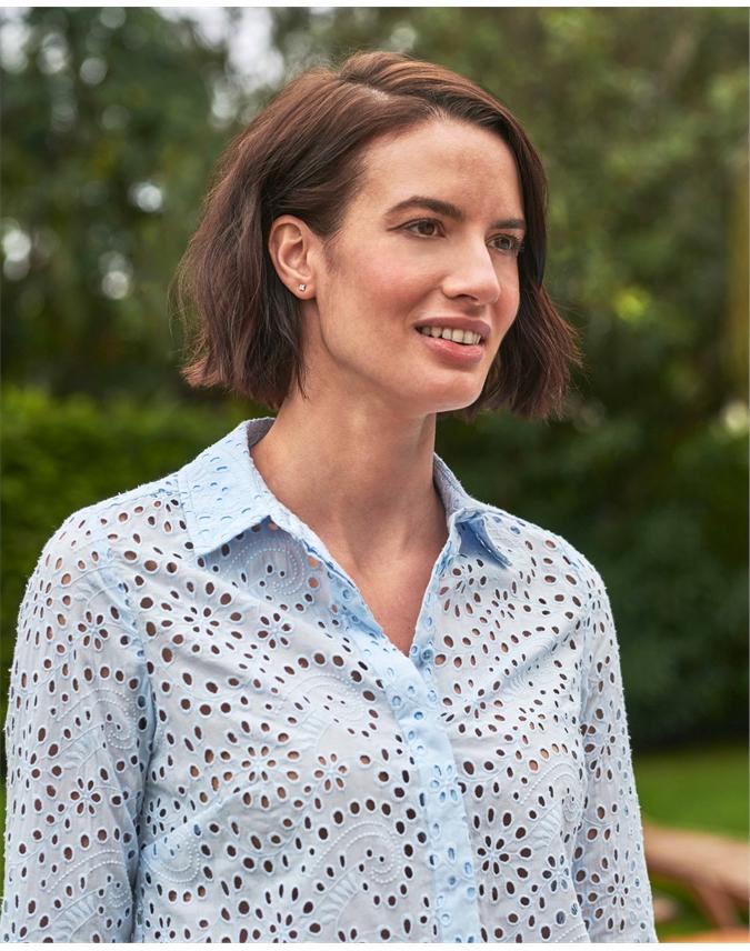 Broderie Anglaise Crop Frill Shirt
