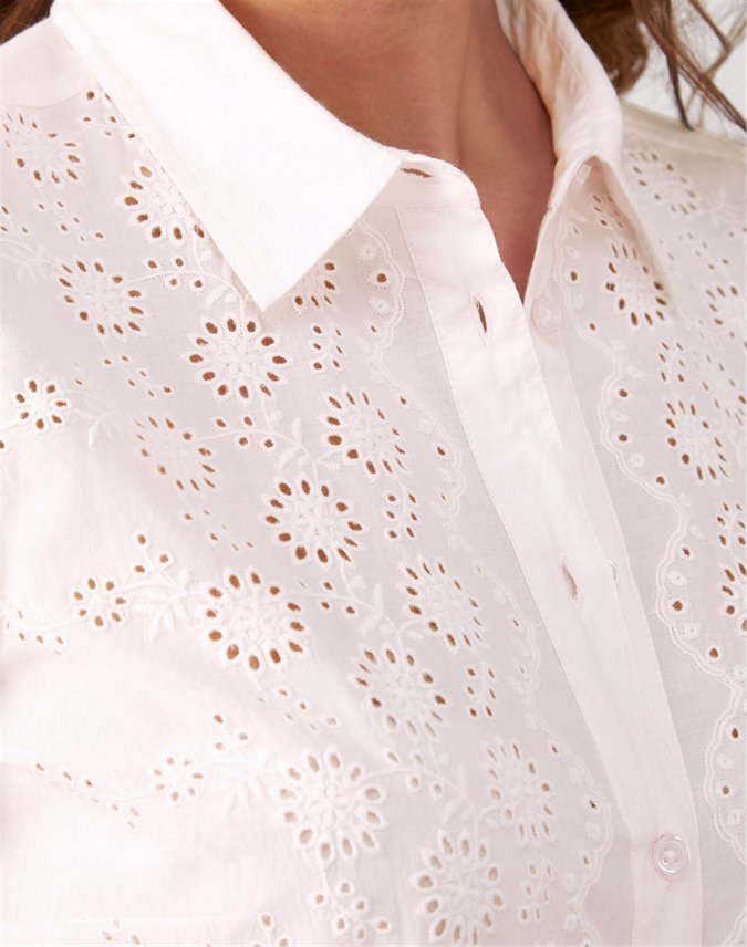 Broderie Anglaise Front Cotton Shirt