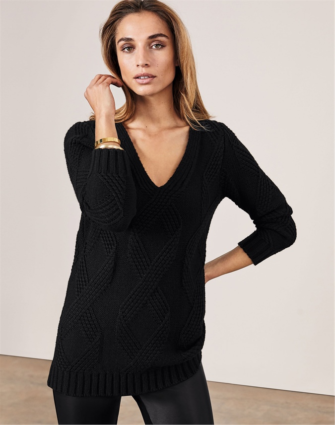 Brushed Cable Longline Sweater