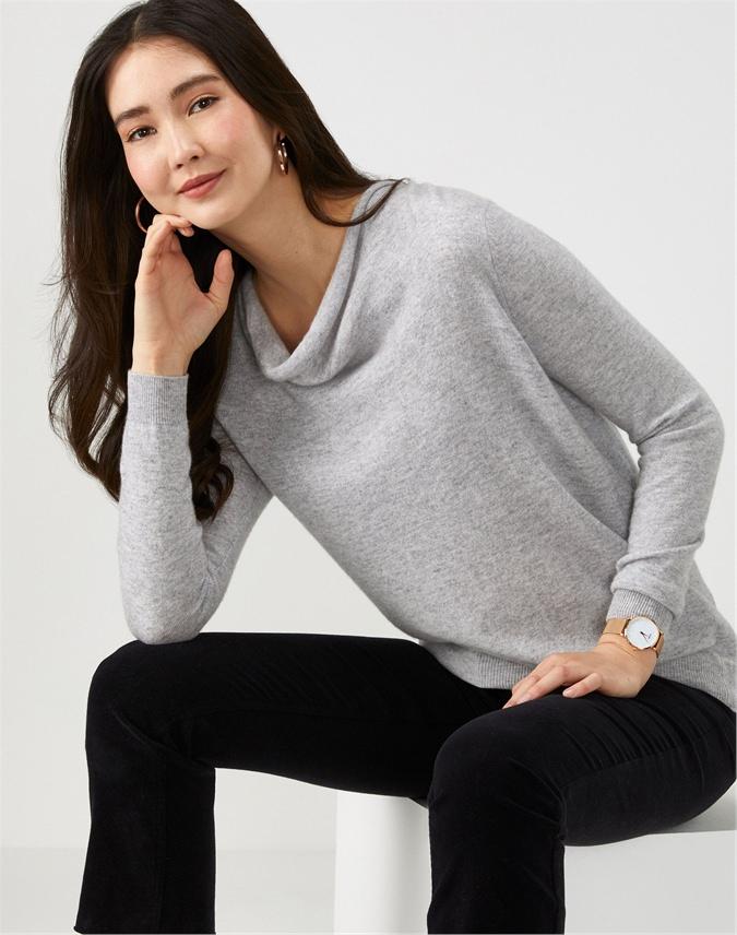 Cashmere Boyfriend Drape Neck Sweater