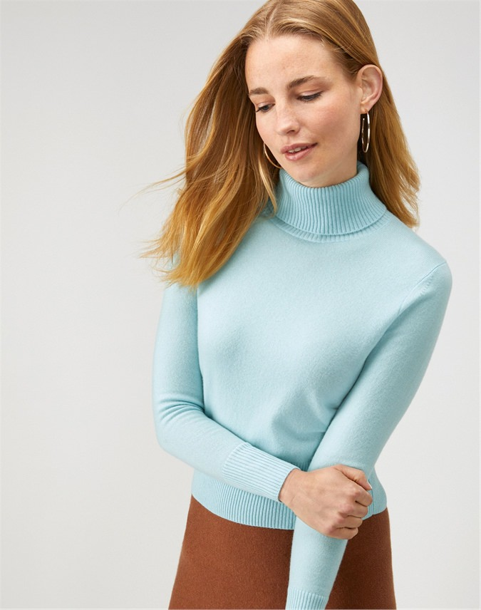 Cashmere Cropped Polo Sweater