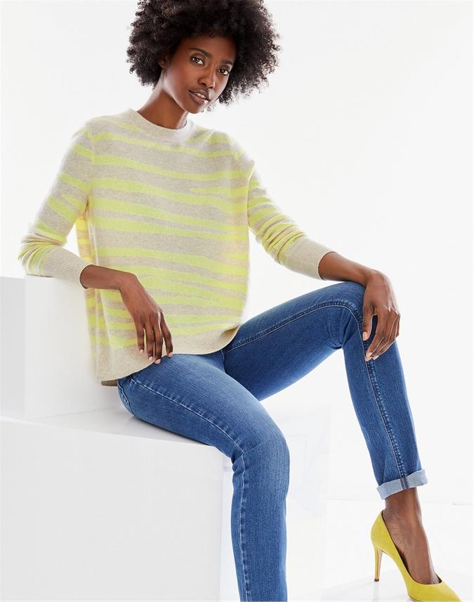 Cashmere Curved Hem Boyfriend Sweater