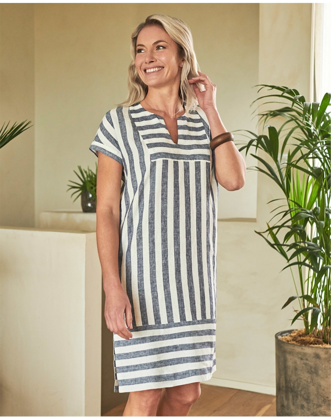 Linen Open V Neck Tunic