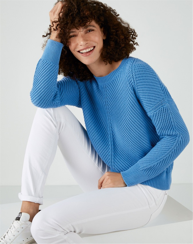 Cotton Chunky Textured Stitch Sweater
