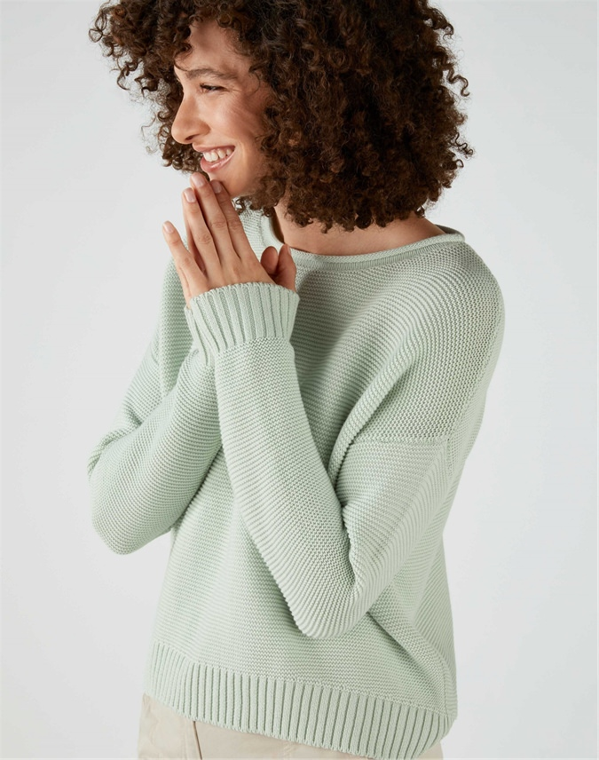 Cotton Dipped Hem Textured Sweater