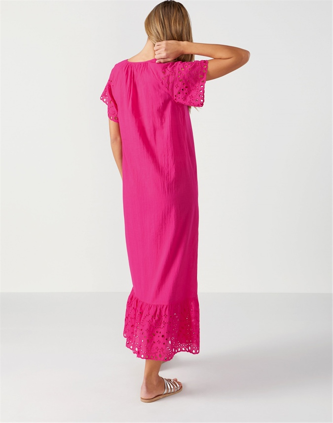 Cotton Embroidered Maxi Dress