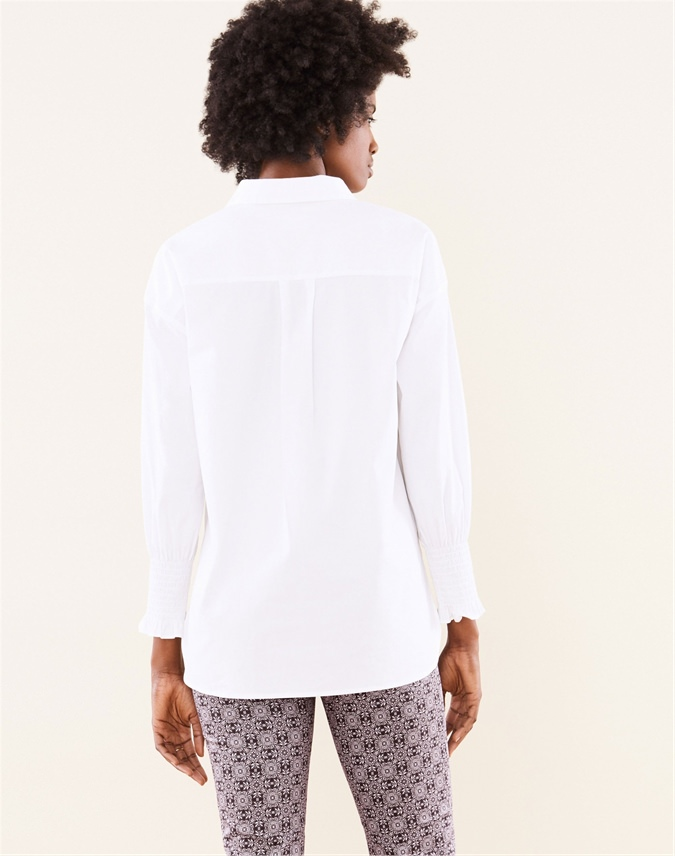 Cotton Smocked Cuff Shirt