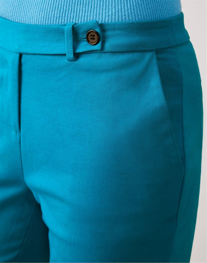 Cotton Stretch Sateen Ankle Trouser