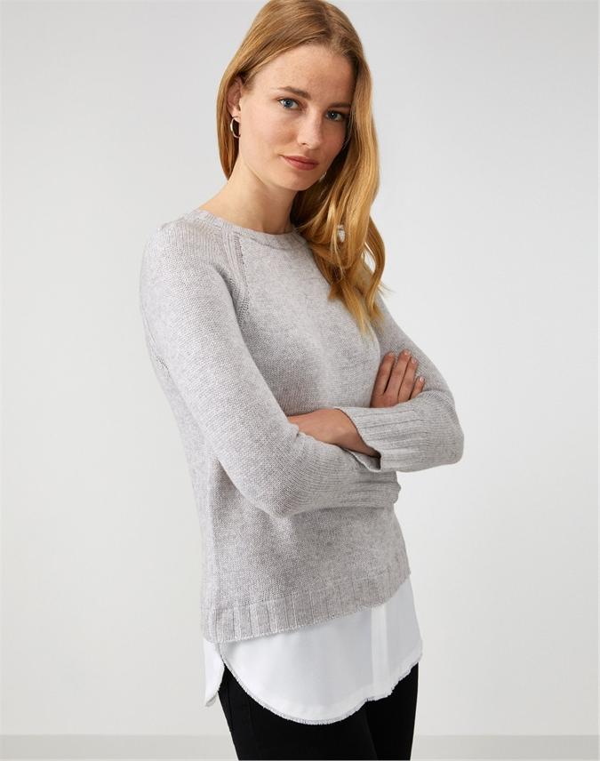 Crew Neck Woven Hem Sweater