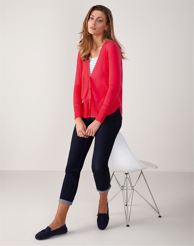 Curved Hem V Neck Cardigan