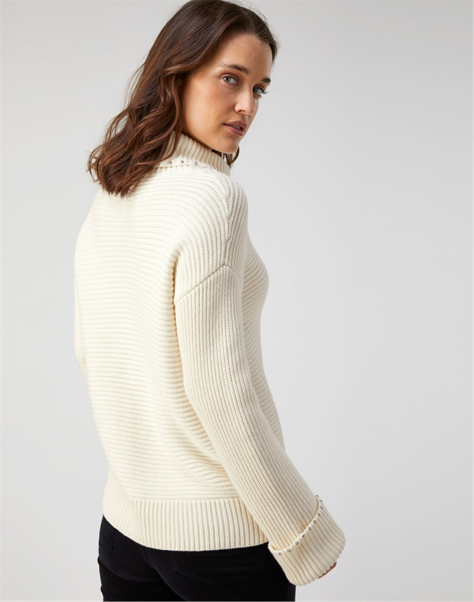 Embellished Ribbed Sweater