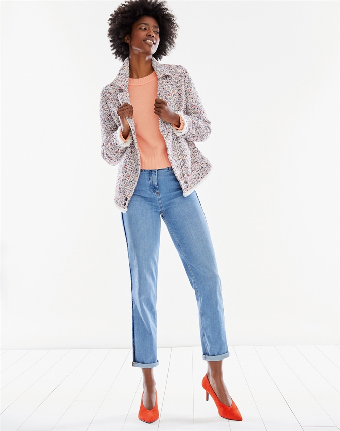 Fringed Tweed Biker Jacket
