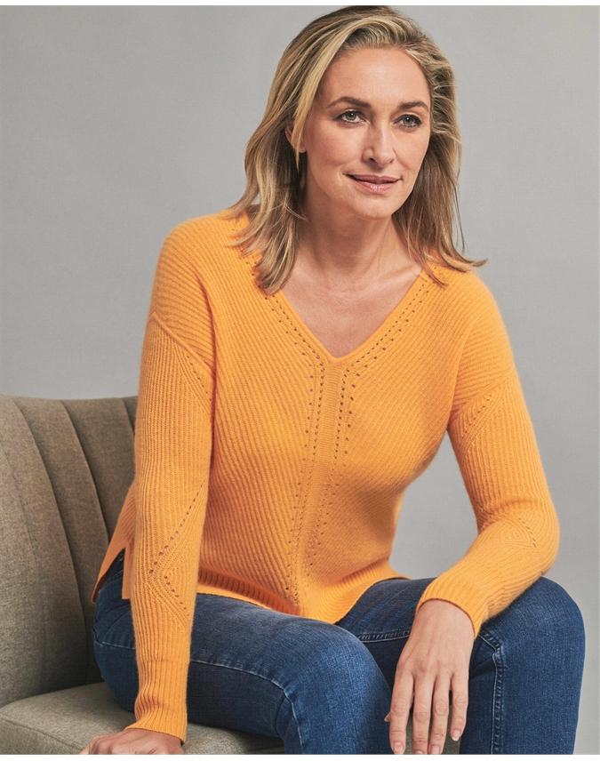 Gassato Pointelle Detail V Neck Sweater
