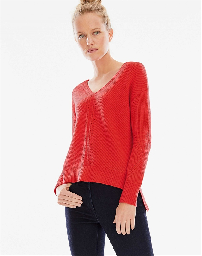 Gassato Pointelle Detail V Neck Sweater