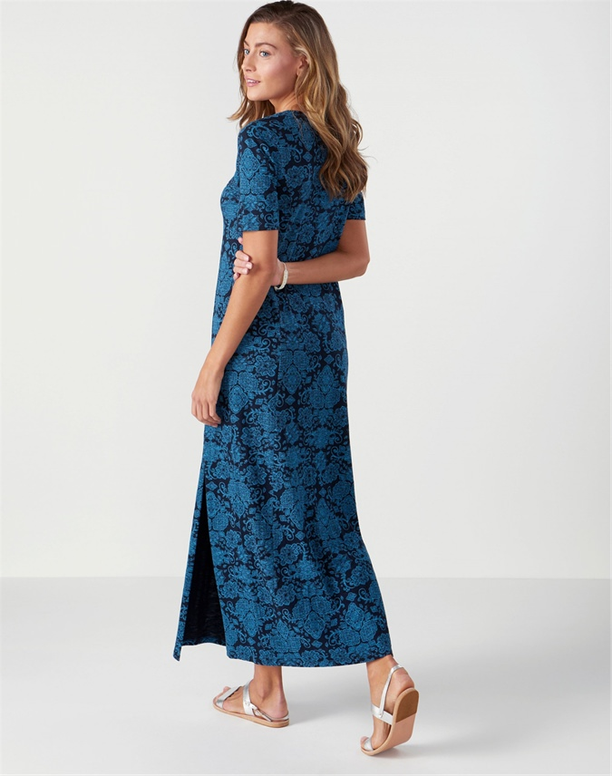 Jersey Open V Neck Maxi Dress