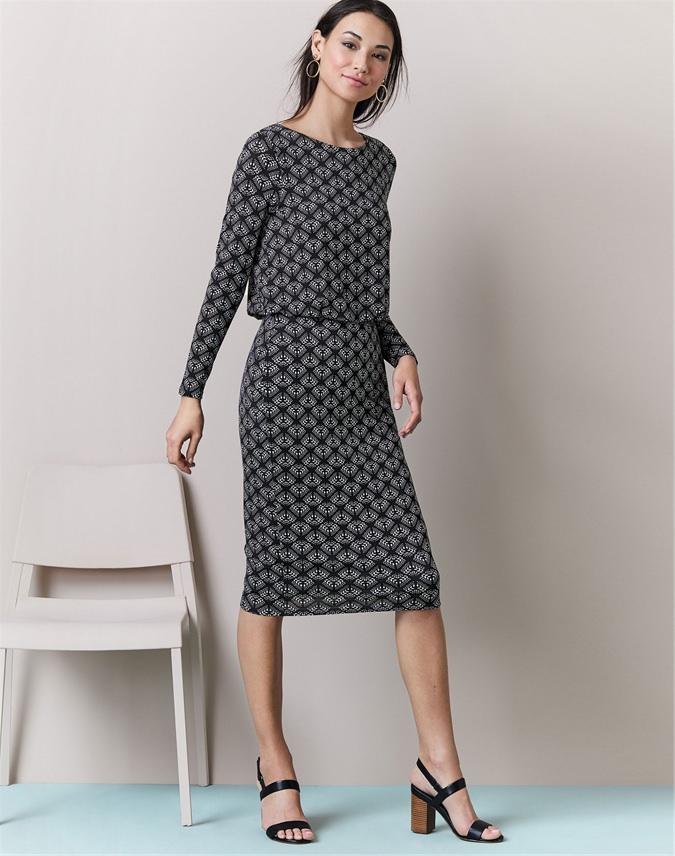 Jersey Slim Blouson Dress