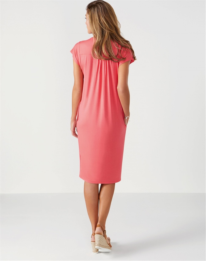 Jersey V Neck Relaxed Dress