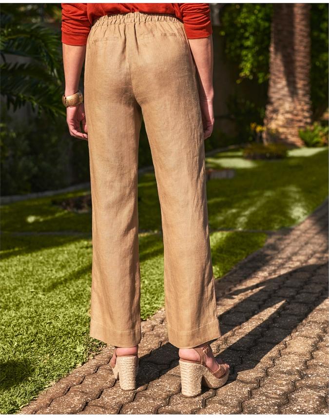 Laundered Linen Wide Leg Trouser