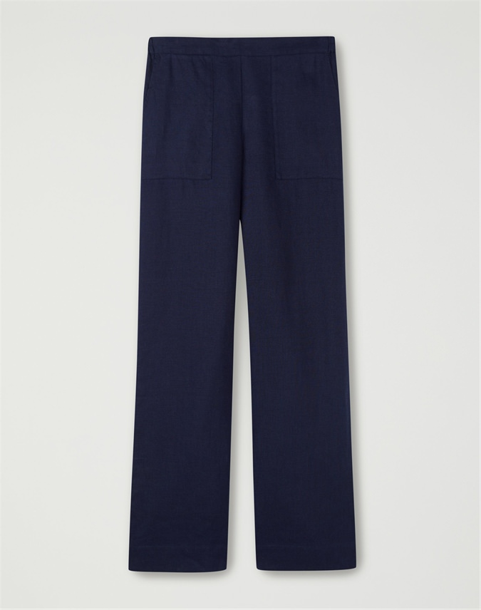 Laundered Linen Wide Leg Trouser
