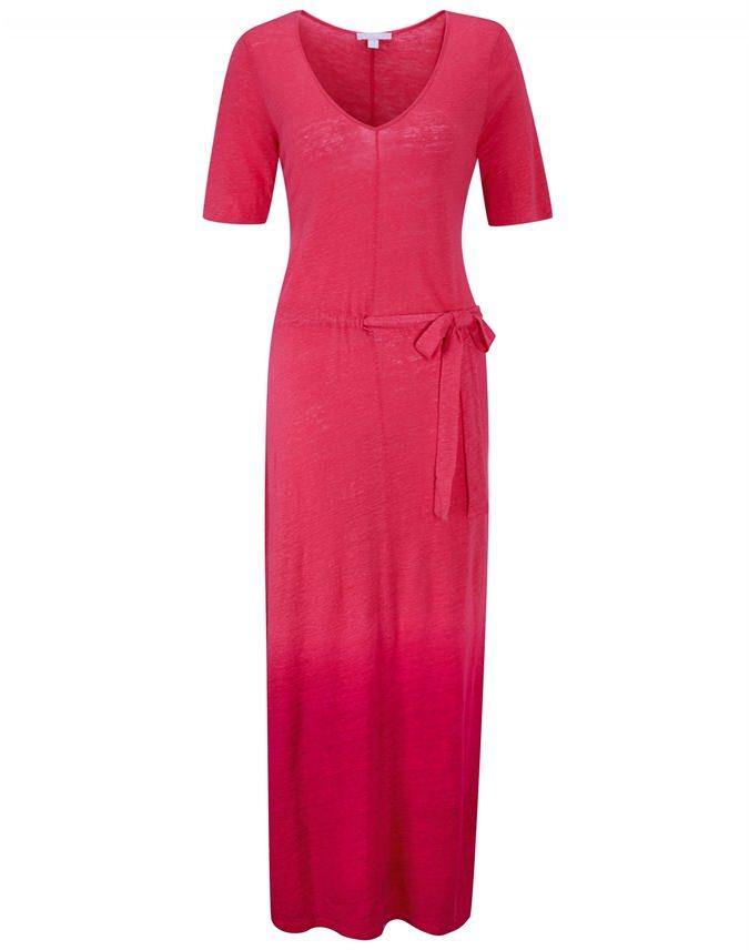 Linen Jersey Tie Waist Maxi Dress