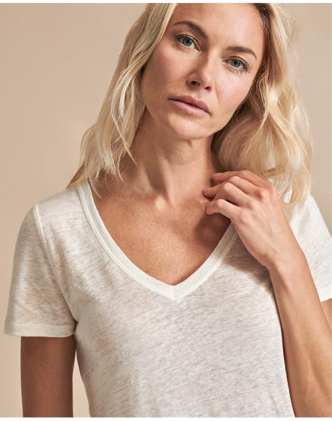 Linen Jersey V Neck T-Shirt