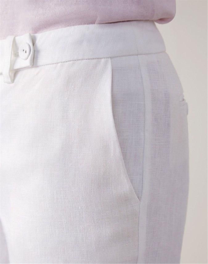 Linen Slim Leg Cropped Trouser