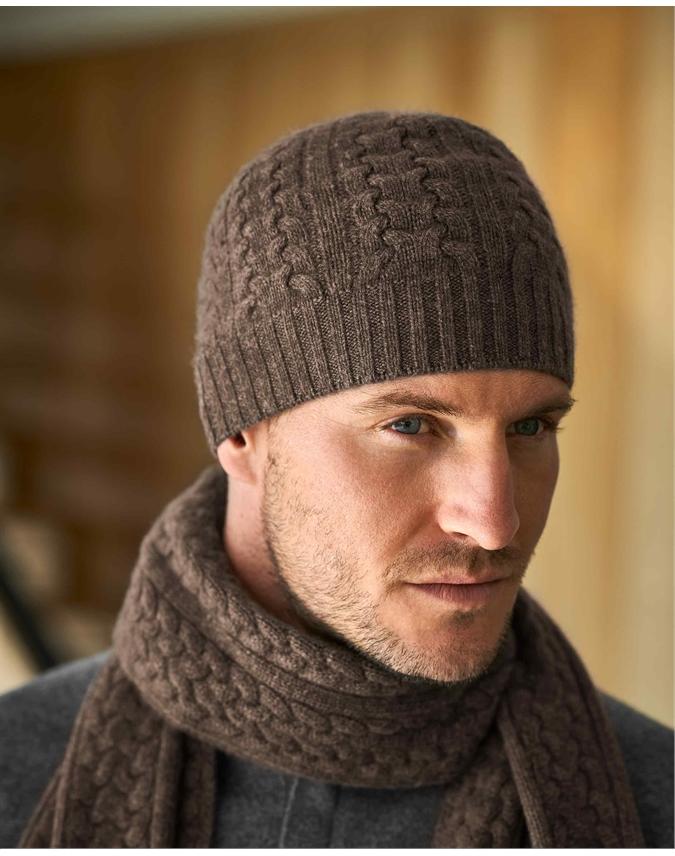 Mens Cashmere Cable Hat