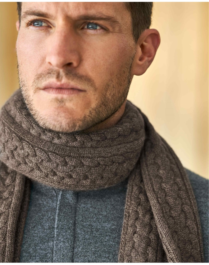 Mens Cashmere Cable Scarf