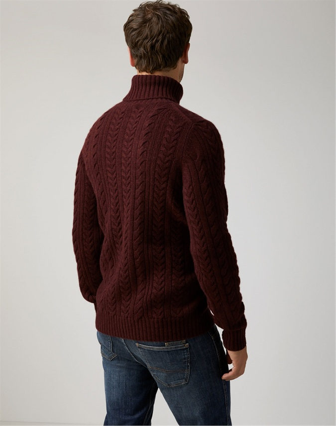 Mens Chunky Cable Roll Neck Sweater