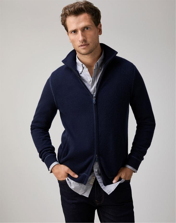Mens Coverstitch Zip Through Sweater
