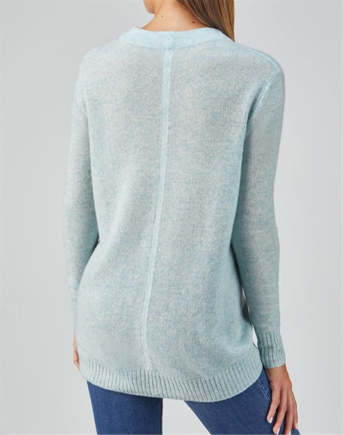 Organic Cashmere Dipped Hem Sweater