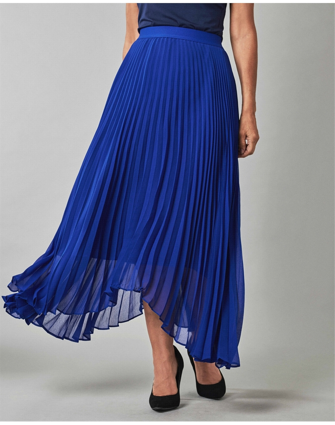 Pleated Drop Hem Skirt