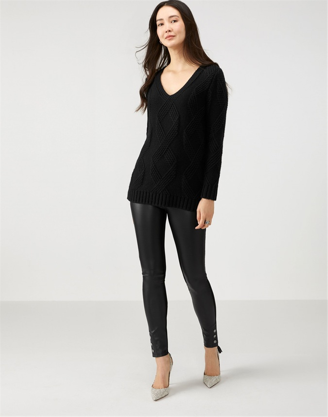 Ponte And Faux Leather Stud Hem Trouser