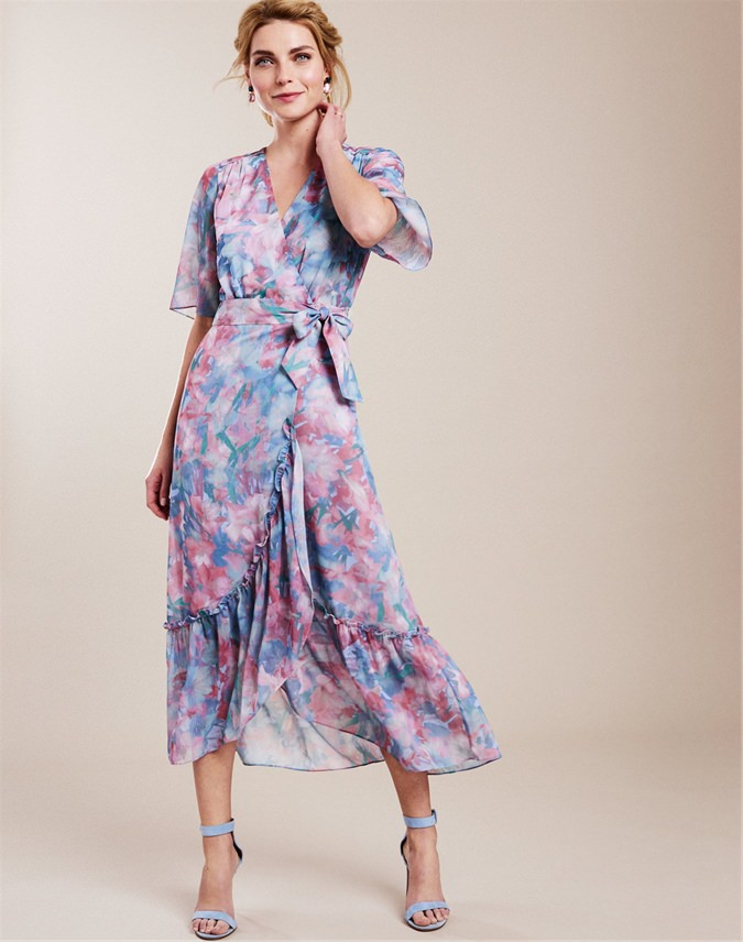 Printed Wrap Midi Dress