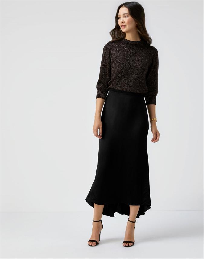 Satin Dipped Hem Skirt