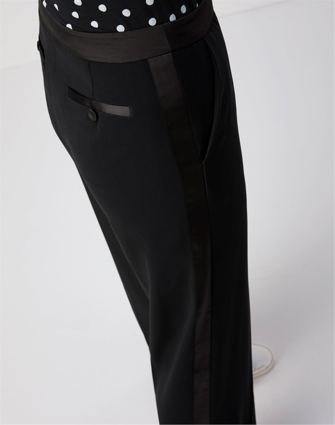 Satin Trim Wide Leg Trouser