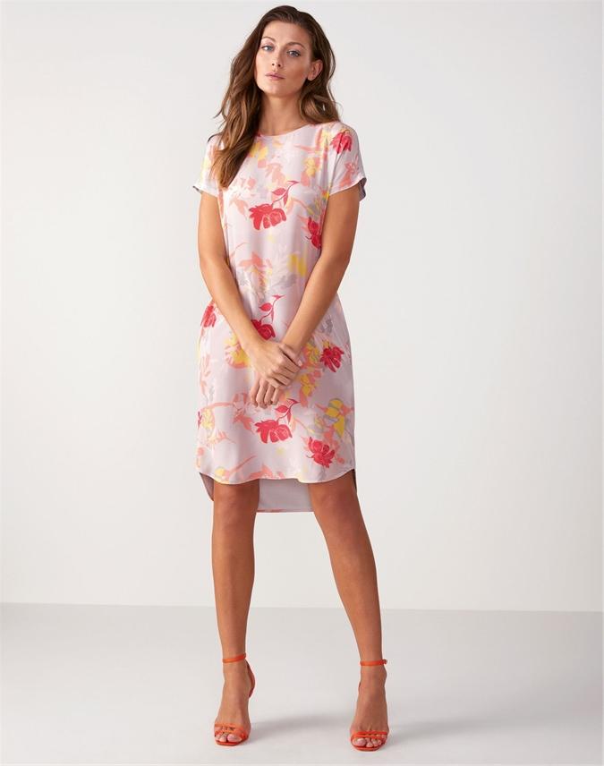 Silk Front Print Dress