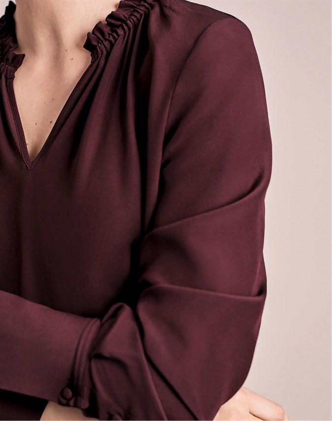 Silk Relaxed Ruffle Neck Dress